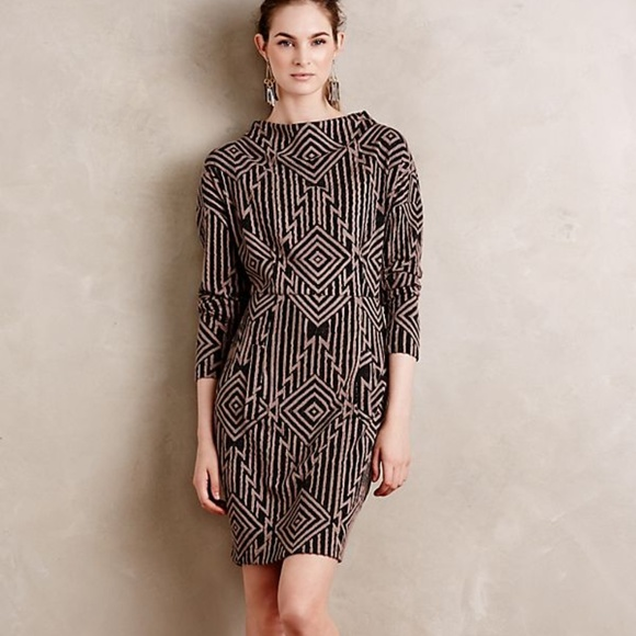 Easel Anthropologie Midi Sweater Dress Side Mauve S Small